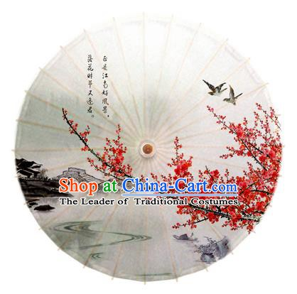 Asian China Dance Handmade Umbrella Printing Red Plum Blossom Oil-paper Umbrella Stage Performance Props Umbrellas