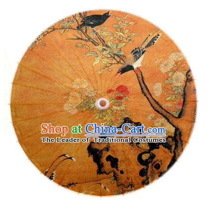 Asian China Dance Handmade Umbrella Ink Painting Plum Blossom Birds Oil-paper Umbrella Stage Performance Props Umbrellas