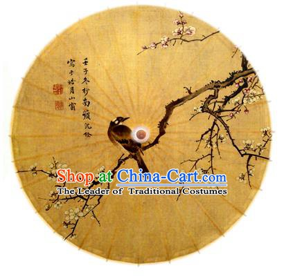 Asian China Dance Handmade Umbrella Ink Painting Plum Blossom Birds Brown Oil-paper Umbrella Stage Performance Props Umbrellas
