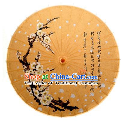 Asian China Dance Handmade Umbrella Ink Painting Plum Blossom Brown Oil-paper Umbrella Stage Performance Props Umbrellas
