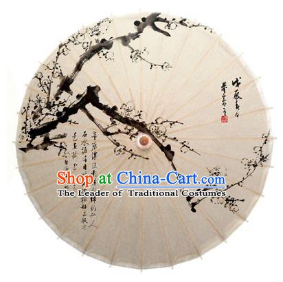Asian China Dance Handmade Umbrella Ink Painting Plum Blossom White Oil-paper Umbrella Stage Performance Props Umbrellas