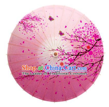 Asian China Dance Handmade Umbrella Ink Painting Plum Blossom Pink Oil-paper Umbrella Stage Performance Props Umbrellas
