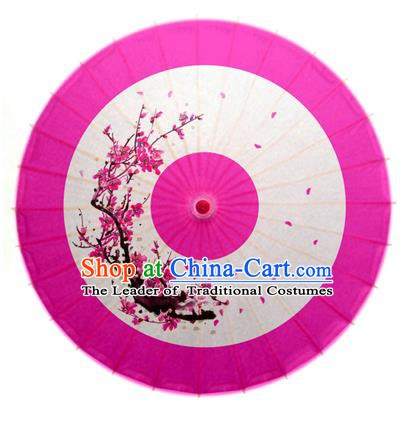Asian China Dance Handmade Umbrella Ink Painting Plum Blossom Rosy Oil-paper Umbrella Stage Performance Props Umbrellas