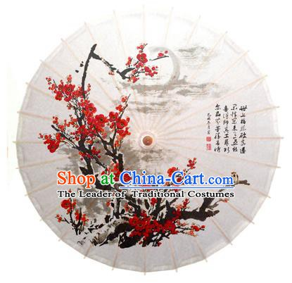 China Traditional Dance Handmade Umbrella Painting Plum Blossom White Oil-paper Umbrella Stage Performance Props Umbrellas