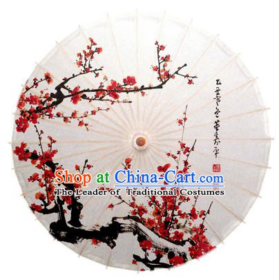 China Traditional Dance Handmade Umbrella Ink Painting Red Plum Blossom Oil-paper Umbrella Stage Performance Props Umbrellas