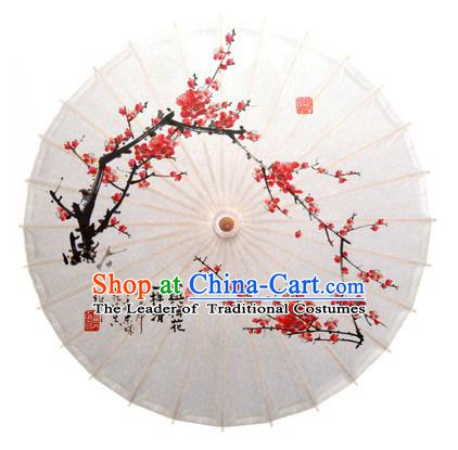 China Traditional Dance Handmade Umbrella Ink Painting Red Plum Blossom White Oil-paper Umbrella Stage Performance Props Umbrellas