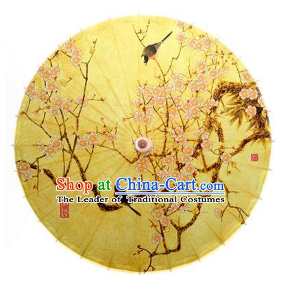 China Traditional Dance Handmade Umbrella Ink Painting Plum Blossom Birds Yellow Oil-paper Umbrella Stage Performance Props Umbrellas