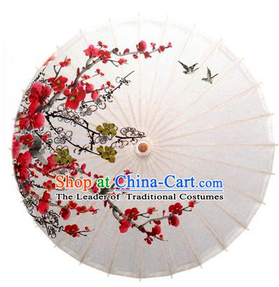 China Traditional Dance Handmade Umbrella Ink Painting Plum Blossom Birds Oil-paper Umbrella Stage Performance Props Umbrellas