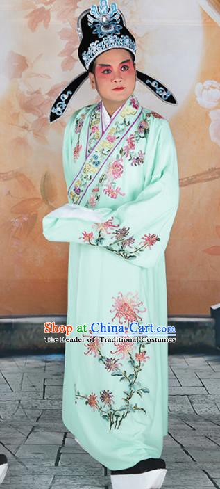 Chinese Beijing Opera Niche Costume Green Embroidered Robe, China Peking Opera Scholar Embroidery Chrysanthemum Clothing