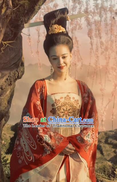 Traditional Chinese Ancient Tang Dynasty Imperial Concubine Embroidered Wedding Costume for Women