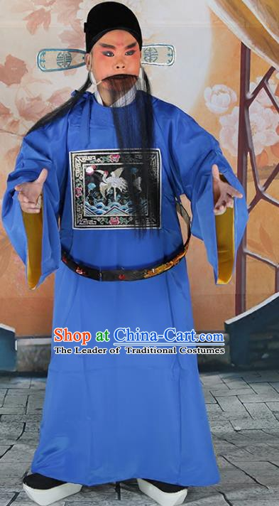 Chinese Beijing Opera Minister Costume Blue Embroidered Robe, China Peking Opera Officer Embroidery Clothing