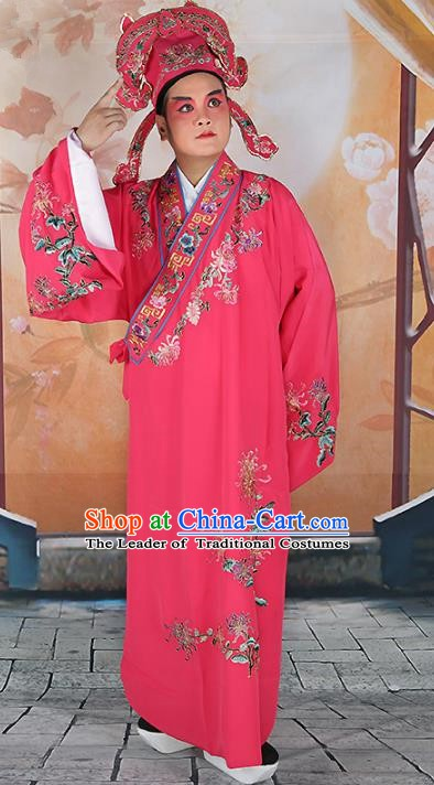 Chinese Beijing Opera Niche Costume Peach Pink Embroidered Robe, China Peking Opera Scholar Embroidery Chrysanthemum Clothing