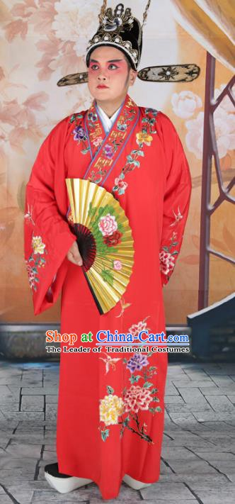 Chinese Beijing Opera Niche Costume Red Embroidered Robe, China Peking Opera Scholar Embroidery Peony Clothing