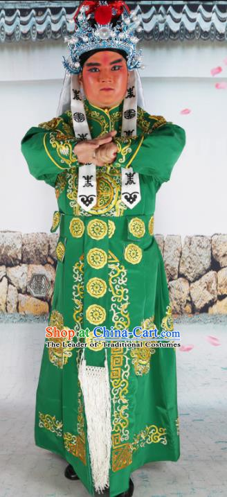 Chinese Beijing Opera Takefu Costume Green Embroidered Robe, China Peking Opera Imperial Bodyguard Embroidery Clothing