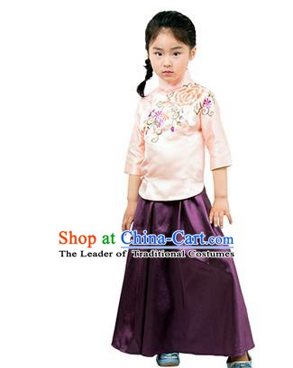 Traditional Chinese Ancient Republic of China Nobility Lady Costume Embroidered Blouse and Purple Skirt for Kids