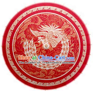 China Traditional Dance Handmade Wedding Umbrella Printing Phoenix Red Oil-paper Umbrella Stage Performance Props Umbrellas