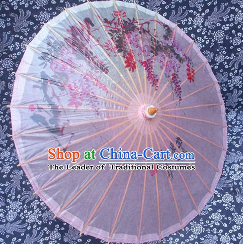 China Traditional Dance Handmade Umbrella Painting Wisteria Oil-paper Umbrella Stage Performance Props Umbrellas
