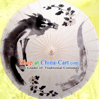China Traditional Dance Handmade Umbrella Painting Chrysanthemum Oil-paper Umbrella Stage Performance Props Umbrellas