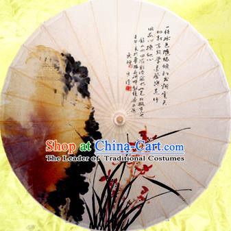 China Traditional Dance Handmade Umbrella Painting Orchid Oil-paper Umbrella Stage Performance Props Umbrellas