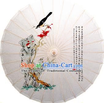 China Traditional Dance Handmade Umbrella Stone Bird Oil-paper Umbrella Stage Performance Props Umbrellas