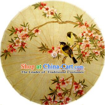 China Traditional Dance Handmade Umbrella Printing Peach Blossom Oil-paper Umbrella Stage Performance Props Umbrellas