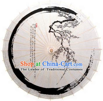 China Traditional Dance Handmade Umbrella Ink Printing Wintersweet Oil-paper Umbrella Stage Performance Props Umbrellas