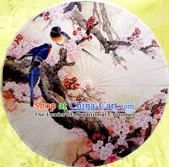 China Traditional Dance Handmade Umbrella Ink Printing Birds Wintersweet Oil-paper Umbrella Stage Performance Props Umbrellas