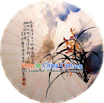 China Traditional Dance Handmade Umbrella Ink Printing Orchid Oil-paper Umbrella Stage Performance Props Umbrellas