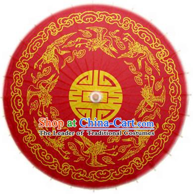 China Traditional Dance Handmade Umbrella Printing Crane Red Oil-paper Umbrella Stage Performance Props Umbrellas