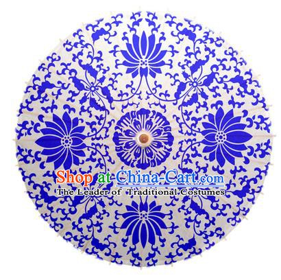 China Traditional Dance Handmade Umbrella Printing Blue Lotus Oil-paper Umbrella Stage Performance Props Umbrellas