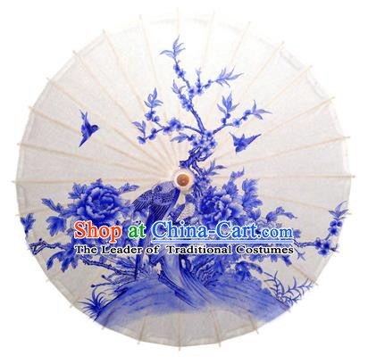 China Traditional Dance Handmade Umbrella Printing Peony Butterfly Oil-paper Umbrella Stage Performance Props Umbrellas