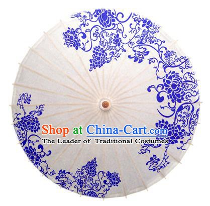 China Traditional Dance Handmade Umbrella Blue and White Porcelain Peony Oil-paper Umbrella Stage Performance Props Umbrellas