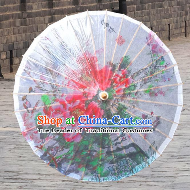 China Traditional Dance Handmade Umbrella Painting Peony White Oil-paper Umbrella Stage Performance Props Umbrellas