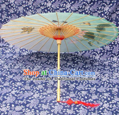 China Traditional Dance Handmade Umbrella Printing Greenish Lily Flower Oil-paper Umbrella Stage Performance Props Umbrellas