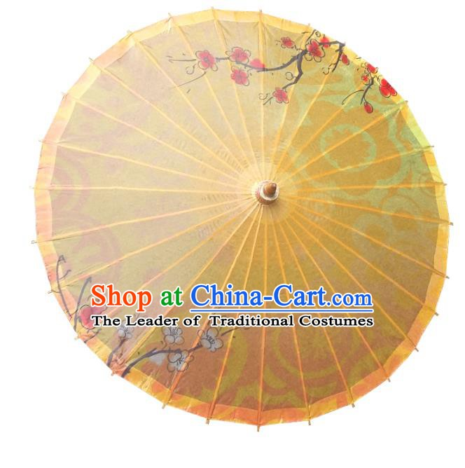 China Traditional Dance Handmade Umbrella Ink Painting Wintersweet Yellow Oil-paper Umbrella Stage Performance Props Umbrellas