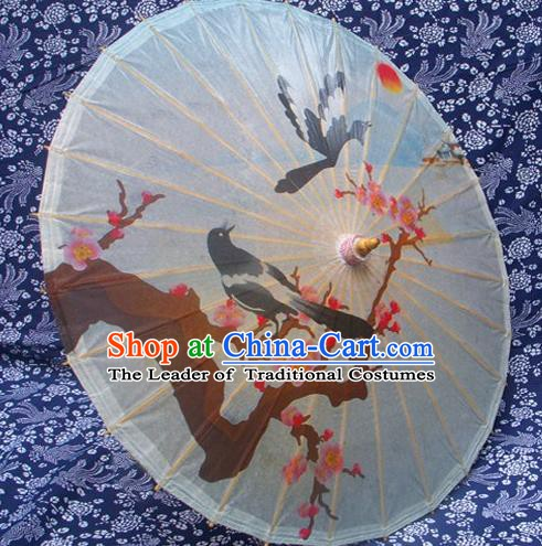 Handmade China Traditional Dance Painting Wintersweet Magpie Umbrella Oil-paper Umbrella Stage Performance Props Umbrellas