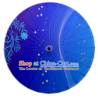 China Traditional Dance Handmade Umbrella Printing Blue Oil-paper Umbrella Stage Performance Props Umbrellas