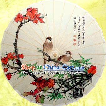 Handmade China Traditional Dance Painting Red Leaf Umbrella Oil-paper Umbrella Stage Performance Props Umbrellas
