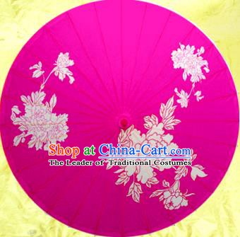 Handmade China Traditional Dance Painting Peony Rosy Umbrella Oil-paper Umbrella Stage Performance Props Umbrellas