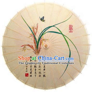 Handmade China Traditional Dance Painting Cymbidium Umbrella Oil-paper Umbrella Stage Performance Props Umbrellas