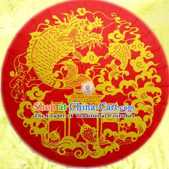 Handmade China Traditional Dance Painting Dragon Carp Wedding Red Umbrella Oil-paper Umbrella Stage Performance Props Umbrellas