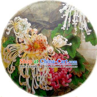 Handmade China Traditional Dance Painting Chrysanthemum Umbrella Oil-paper Umbrella Stage Performance Props Umbrellas