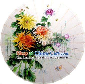 Handmade China Traditional Dance Painting Yellow Chrysanthemum Butterfly Umbrella Oil-paper Umbrella Stage Performance Props Umbrellas
