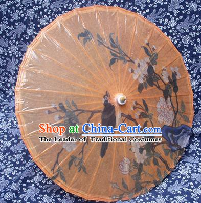 Handmade China Traditional Dance Ink Painting Peony Magpie Umbrella Oil-paper Umbrella Stage Performance Props Umbrellas