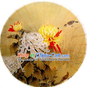 Handmade China Traditional Dance Ink Painting Chrysanthemum Yellow Umbrella Oil-paper Umbrella Stage Performance Props Umbrellas