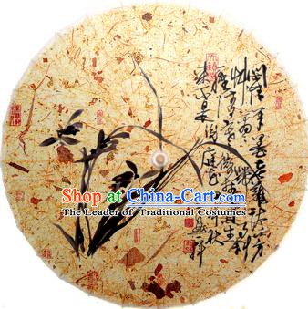 Handmade China Traditional Folk Dance Umbrella Painting Orchid Oil-paper Umbrella Stage Performance Props Umbrellas