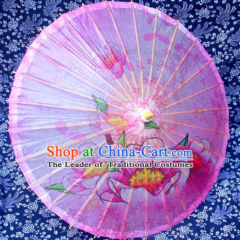 China Traditional Dance Handmade Umbrella Printing Pink Oil-paper Umbrella Stage Performance Props Umbrellas