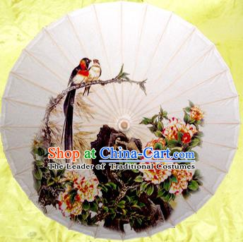 China Traditional Dance Handmade Umbrella Ink Painting Peony Oil-paper Umbrella Stage Performance Props Umbrellas