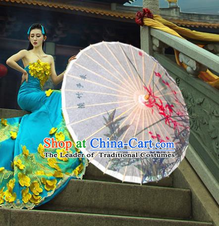 China Traditional Dance Handmade Umbrella Classical Printing Orchid Bamboo Oil-paper Umbrella Stage Performance Props Umbrellas