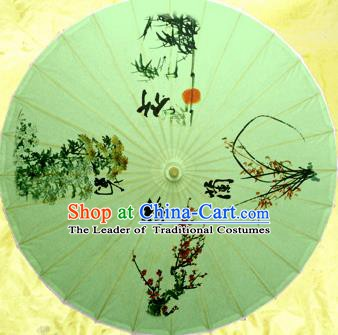 China Traditional Dance Handmade Umbrella Classical Ink Painting Plum Blossom Orchid Bamboo Chrysanthemum Oil-paper Umbrella Stage Performance Props Umbrellas